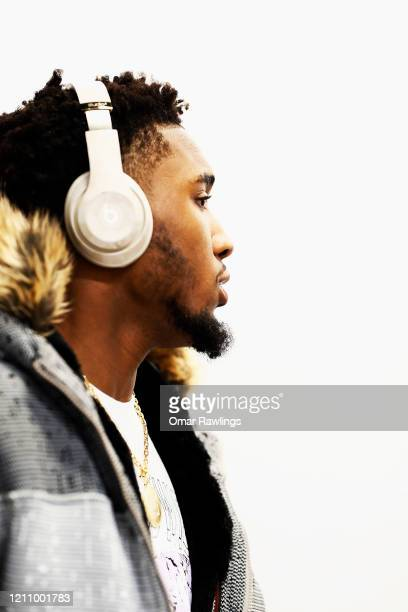 Donovan Mitchell of the Utah Jazz arrives at TD Garden before the game between the Boston Celtics and the Utah Jazz at TD Garden on March 06 2020 in...