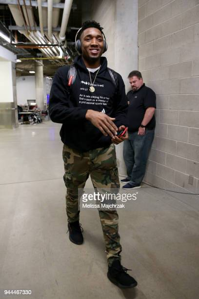 Donovan Mitchell of the Utah Jazz arrives before the game against the Golden State Warriors on April 10 2018 at vivintSmartHome Arena in Salt Lake...