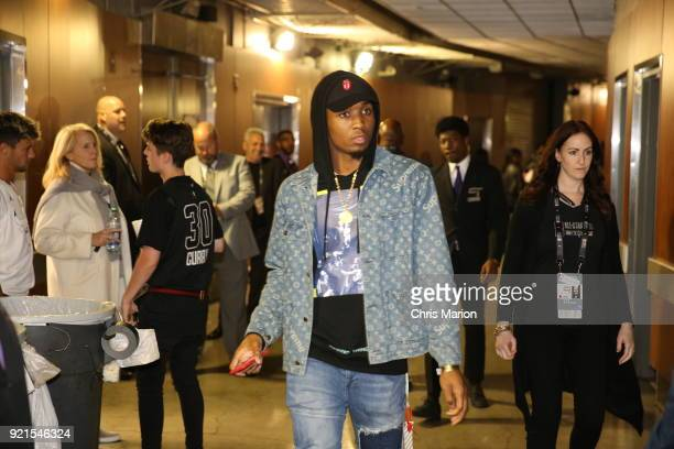Donovan Mitchell of the Utah Jazz arrives to the arena during the NBA AllStar Game as a part of 2018 NBA AllStar Weekend at STAPLES Center on...