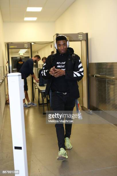 Donovan Mitchell of the Utah Jazz arrives to the arena prior to the game against the Houston Rockets on December 7 2017 at VivintSmartHome Arena in...