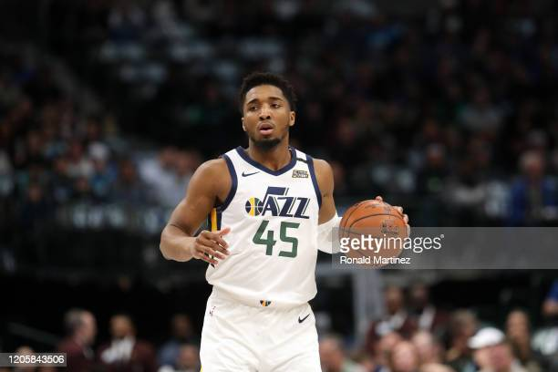 Donovan Mitchell of the Utah Jazz at American Airlines Center on February 10, 2020 in Dallas, Texas. NOTE TO USER: User expressly acknowledges and...