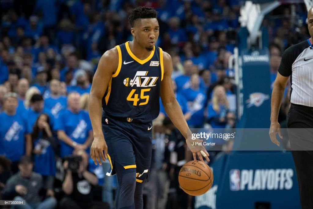 Donovan Mitchell Of The Utah Jazz B Brings The Ball Down Court News Photo Getty Images