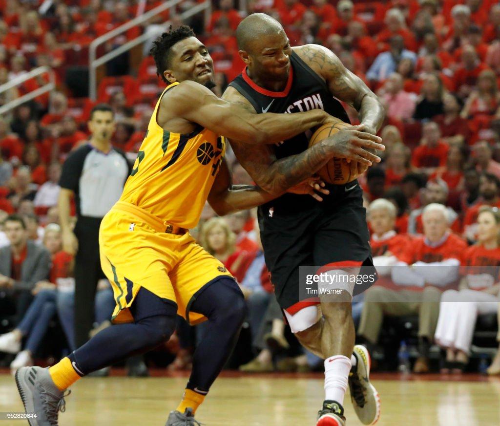 Houston Rockets Vs Utah Jazz: Donovan Mitchell Of The Utah Jazz Battles With PJ Tucker