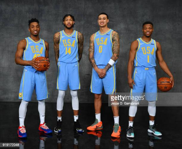 Donovan Mitchell of the Utah Jazz Brandon Ingram and Kyle Kuzma of the Los Angeles Lakers and Dennis Smith Jr of the Dallas Mavericks pose for...