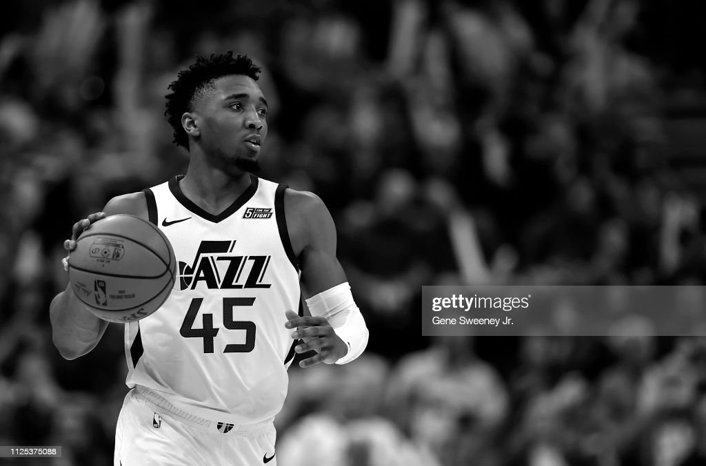 b7d2084be9f Donovan Mitchell of the Utah Jazz brings the ball up court against ...