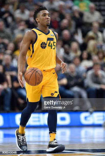 Donovan Mitchell of the Utah Jazz brings the ball up court during a game against the Indiana Pacers at Vivint Smart Home Arena on January 15 2018 in...