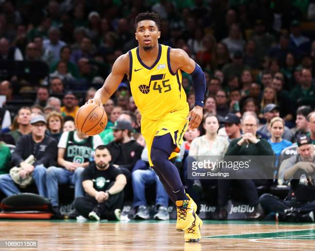 775d4bc970a Donovan Mitchell of the Utah Jazz brings the ball up court during the four  quarter of