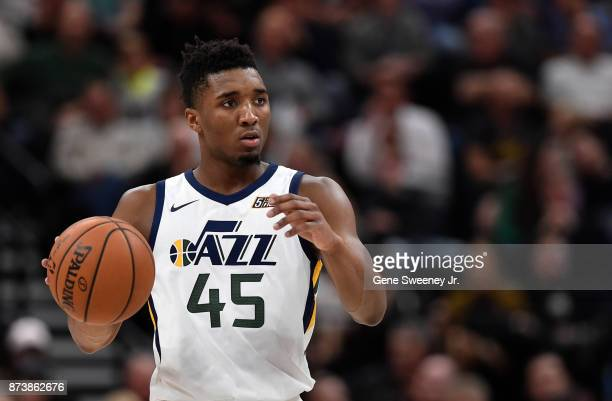 Donovan Mitchell of the Utah Jazz brings the ball up court during the second half of their 10998 loss to the Minnesota Timberwolves at Vivint Smart...