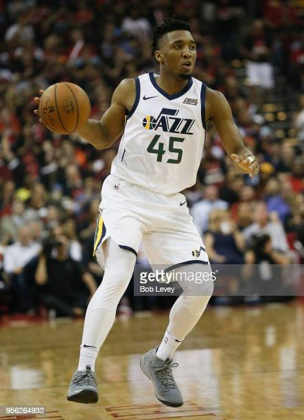 Donovan Mitchell of the Utah Jazz brings the ball up the court against the Houston Rockets during Game Five of the Western Conference Semifinals of...