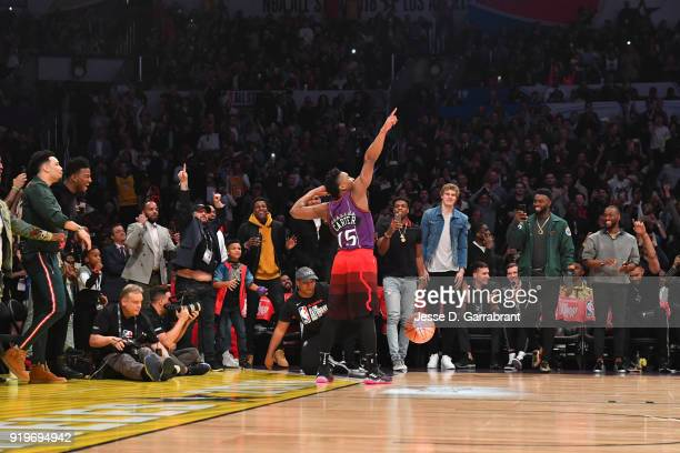 Donovan Mitchell of the Utah Jazz celebrates after dunking the ball during the Verizon Slam Dunk Contest during State Farm AllStar Saturday Night as...