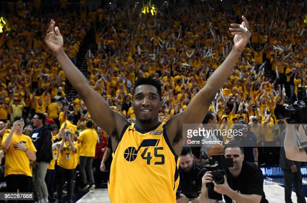 Donovan Mitchell of the Utah Jazz celebrates the Jazz win at the end of Game Six of Round One of the 2018 NBA Playoffs against the Oklahoma City...