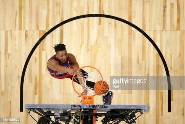 Donovan Mitchell of the Utah Jazz competes in the 2018 Verizon Slam Dunk Contest at Staples Center on February 17 2018 in Los Angeles California