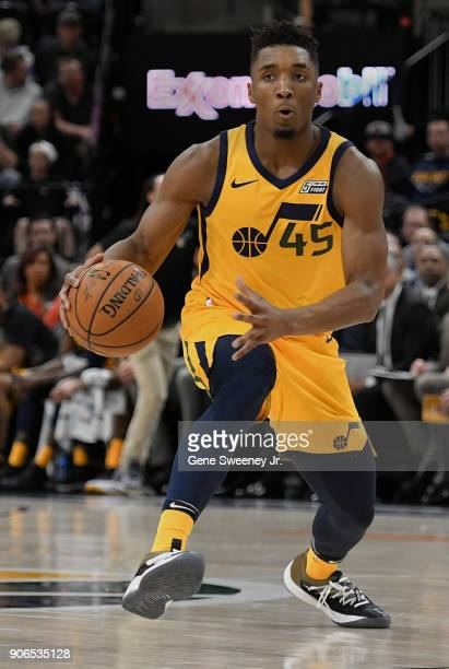 Donovan Mitchell of the Utah Jazz controls the ball during a game against the Indiana Pacers at Vivint Smart Home Arena on January 15 2018 in Salt...