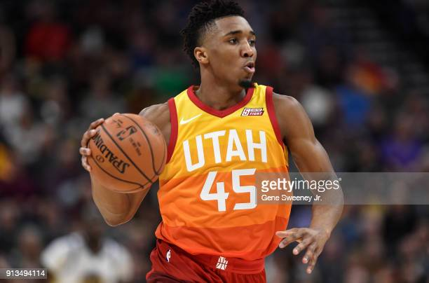 Donovan Mitchell of the Utah Jazz controls the ball during a game against the Golden State Warriors at Vivint Smart Home Arena on January 30 2018 in...