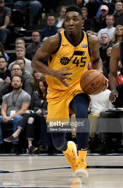 Donovan Mitchell of the Utah Jazz controls the ball during their game against the Houston Rockets at Vivint Smart Home Arena on December 7 2017 in...