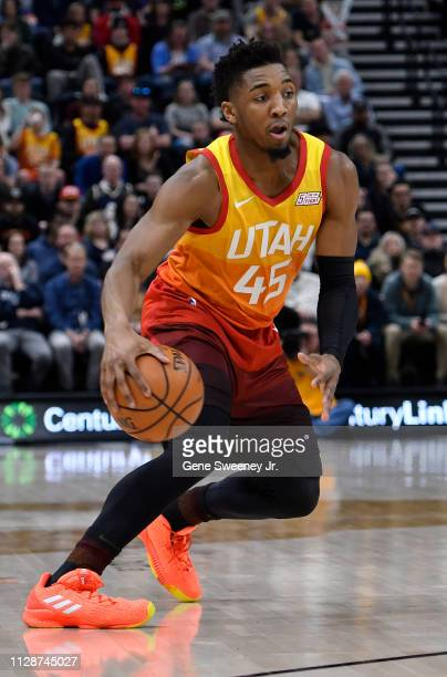 Donovan Mitchell of the Utah Jazz controls the ball in a NBA game against the San Antonio Spurs at Vivint Smart Home Arena on February 09 2019 in...
