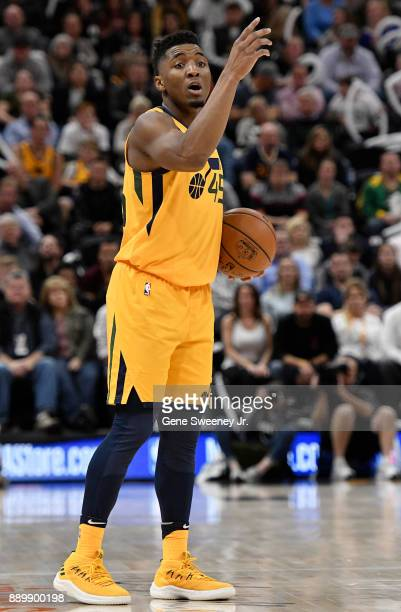 Donovan Mitchell of the Utah Jazz directs a play during their game against the Houston Rockets at Vivint Smart Home Arena on December 7 2017 in Salt...