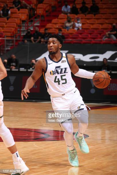 Donovan Mitchell of the Utah Jazz dribbles during the game against the Miami Heat on February 26, 2021 at American Airlines Arena in Miami, Florida....