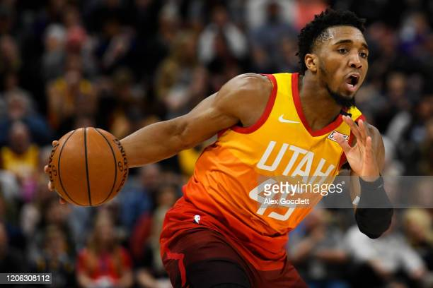 Donovan Mitchell of the Utah Jazz dribbles the ball during a game against the Toronto Raptors at Vivint Smart Home Arena on March 9 2020 in Salt Lake...