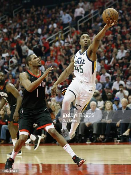 Donovan Mitchell of the Utah Jazz drives around Trevor Ariza of the Houston Rockets for a layup during Game Five of the Western Conference Semifinals...