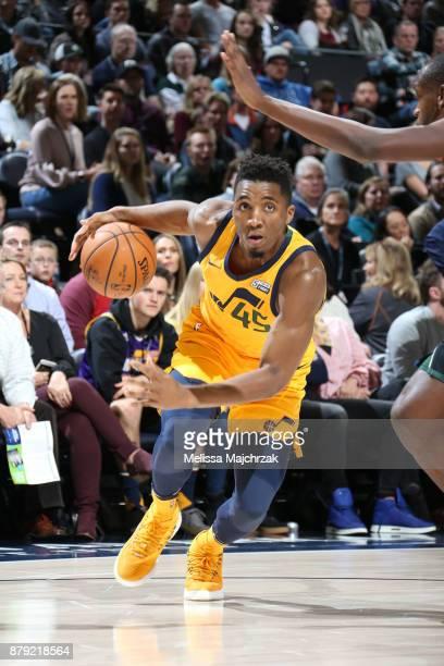 Donovan Mitchell of the Utah Jazz drives to the basket against the Milwaukee Bucks on November 25 2017 at vivintSmartHome Arena in Salt Lake City...