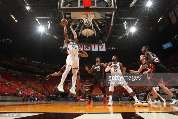 Donovan Mitchell of the Utah Jazz drives to the basket during the game against the Miami Heat on February 26, 2021 at American Airlines Arena in...