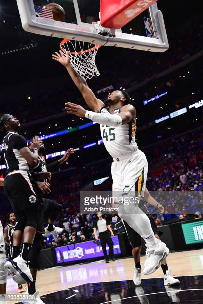 Donovan Mitchell of the Utah Jazz drives to the basket during the game against the LA Clippers during Round 2, Game 6 of the 2021 NBA Playoffs on...