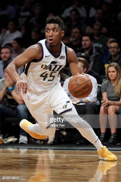 Donovan Mitchell of the Utah Jazz drives to the basket in the first quarter against the Brooklyn Nets during their game at Barclays Center on...