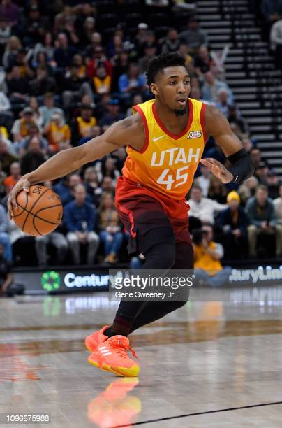 Donovan Mitchell of the Utah Jazz drives towards the basket in the first half of a NBA game against the San Antonio Spurs at Vivint Smart Home Arena...