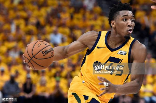 Donovan Mitchell of the Utah Jazz drives with the ball during Game Six of Round One of the 2018 NBA Playoffs against the Oklahoma City Thunder at...