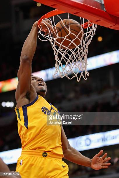 Donovan Mitchell of the Utah Jazz dunks against the Chicago Bulls on his way to a gamehigh 32 points at the United Center on December 13 2017 in...