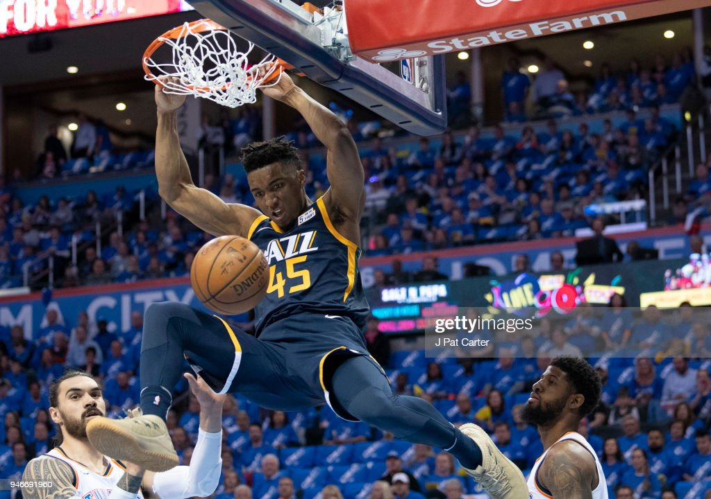 Donovan Mitchell #45 of the Utah Jazz dunks against the Oklahoma City Thunder during the first half of Game 1 of the Western Conference playoffs at the Chesapeake Energy Arena on April 15, 2018 in Oklahoma City, Oklahoma.