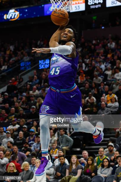 Donovan Mitchell of the Utah Jazz dunks during a game against the New York Knicks at Vivint Smart Home Arena on January 8, 2019 in Salt Lake City,...