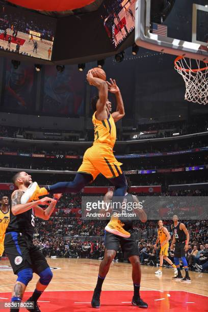Donovan Mitchell of the Utah Jazz dunks the ball against the LA Clippers on November 30 2017 at STAPLES Center in Los Angeles California NOTE TO USER...