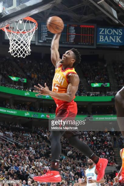 Donovan Mitchell of the Utah Jazz dunks the ball against the Charlotte Hornets on February 9 2018 at Vivint Smart Home Arena in Salt Lake City Utah...