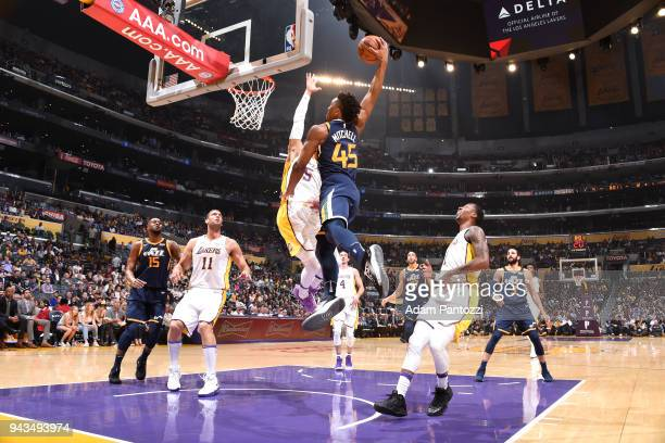 Donovan Mitchell of the Utah Jazz dunks the ball against the Los Angeles Lakers on April 8 2018 at STAPLES Center in Los Angeles California NOTE TO...