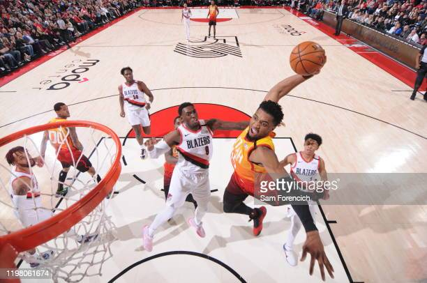 Donovan Mitchell of the Utah Jazz dunks the ball against the Portland Trail Blazers on February 01, 2020 at the Moda Center Arena in Portland,...