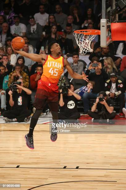 Donovan Mitchell of the Utah Jazz dunks the ball during the Verizon Slam Dunk Contest during State Farm AllStar Saturday Night as part of the 2018...