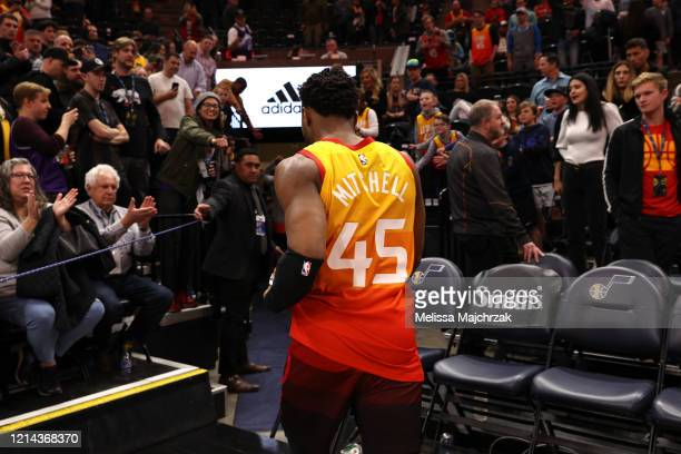 Donovan Mitchell of the Utah Jazz exists the court after the game against the Toronto Raptors on March 9 2020 at vivintSmartHome Arena in Salt Lake...