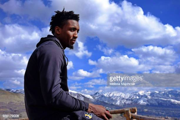 Donovan Mitchell of the Utah Jazz gives an interview with NBAE about the Jazz season at Ensign Peak on March 19 2018 in Salt Lake City Utah NOTE TO...