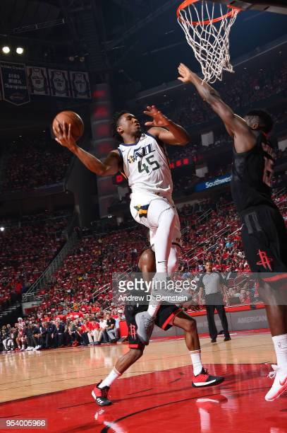 Donovan Mitchell of the Utah Jazz goes to the basket against the Houston Rockets in Game Two of Round Two of the 2018 NBA Playoffs on May 2 2018 at...