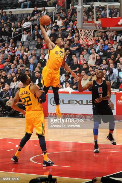 Donovan Mitchell of the Utah Jazz goes to the basket against the LA Clippers on November 30 2017 at STAPLES Center in Los Angeles California NOTE TO...