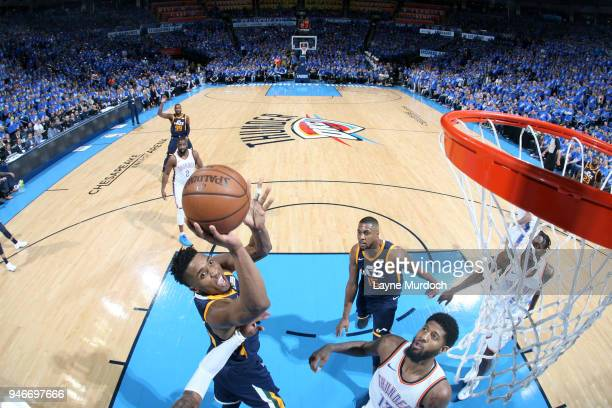 Donovan Mitchell of the Utah Jazz goes to the basket against the Oklahoma City Thunder during Game One of Round One of the 2018 NBA Playoffs on April...