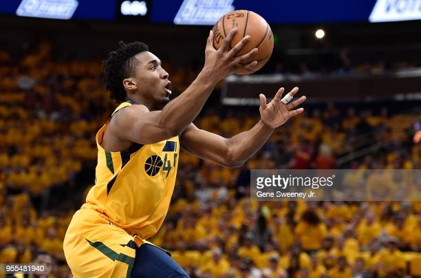 Donovan Mitchell of the Utah Jazz goes to the basket in the first half during Game Four of Round Two of the 2018 NBA Playoffs against the Houston...