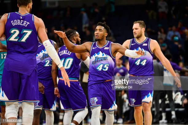 Donovan Mitchell of the Utah Jazz greets teammates during the second half of a game against the Memphis Grizzlies at FedExForum on November 29, 2019...