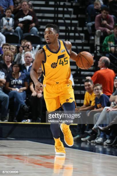 Donovan Mitchell of the Utah Jazz handles the ball against the Milwaukee Bucks on November 25 2017 at vivintSmartHome Arena in Salt Lake City Utah...