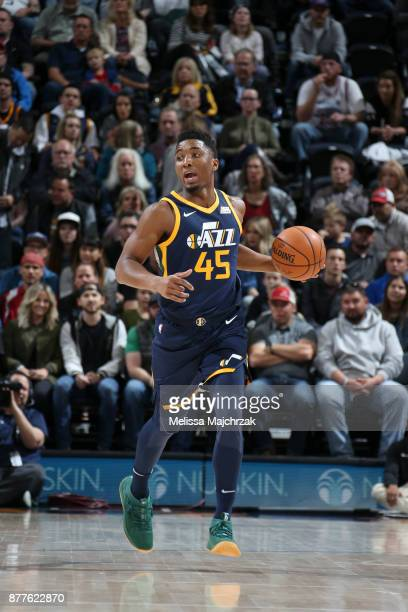 Donovan Mitchell of the Utah Jazz handles the ball against the Chicago Bulls on November 22 2017 at Vivint Smart Home Arena in Salt Lake City Utah...