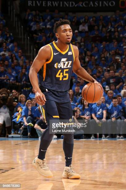 Donovan Mitchell of the Utah Jazz handles the ball against the Oklahoma City Thunder during Game One of Round One of the 2018 NBA Playoffs on April...