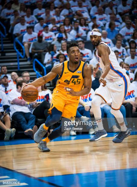 CITY OK APRIL 18 Donovan Mitchell of the Utah Jazz handles the ball against the Oklahoma City Thunder in Game Two of Round One of the 2018 NBA...