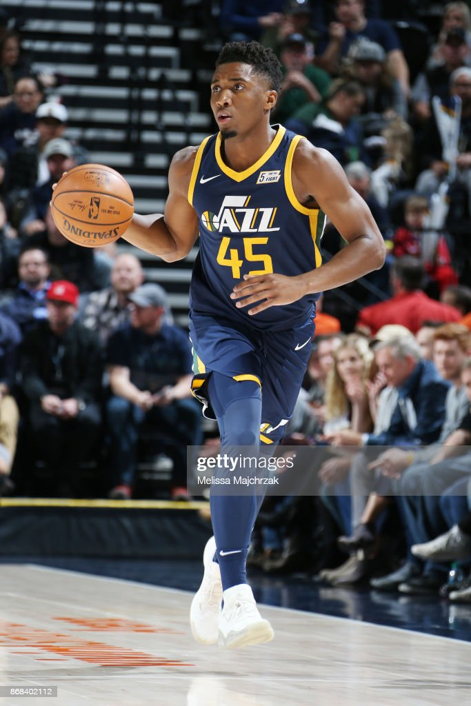 Donovan Mitchell Donovan-mitchell-of-the-utah-jazz-handles-the-ball-against-the-dallas-picture-id868402112